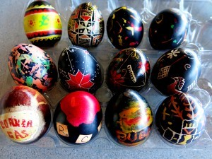 Our family's attempts at making pysanky (Some tv series, movie, and Jackson Pollock imitations)