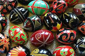 From Wikepedia: The real deal, pysanky from the Volyn, Ukraine, where my mother was born.